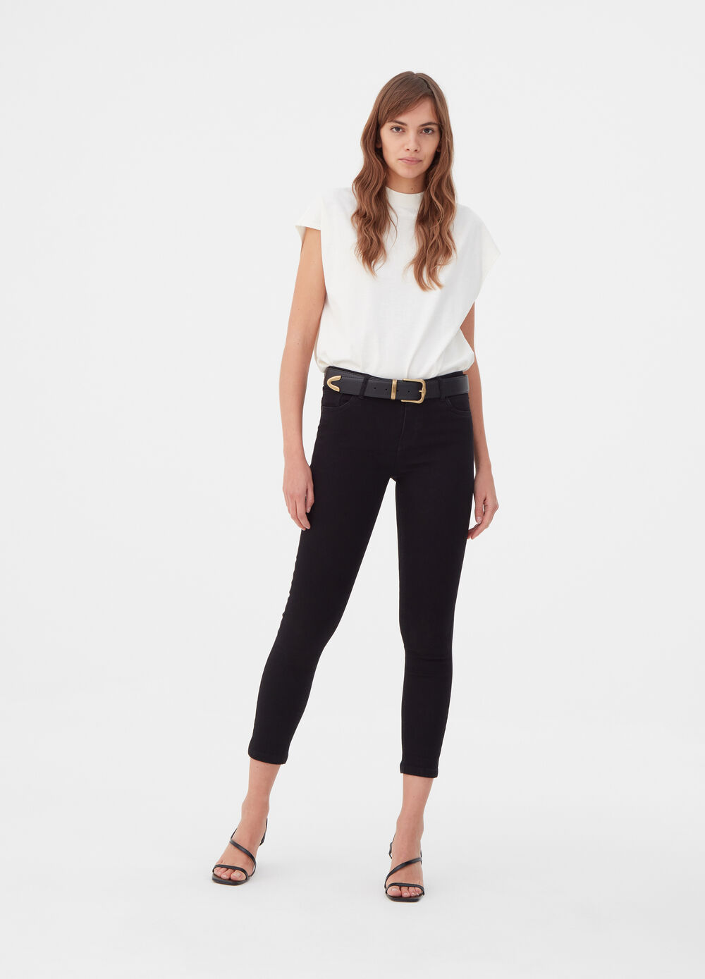 Skinny-fit crop jeans with five pockets
