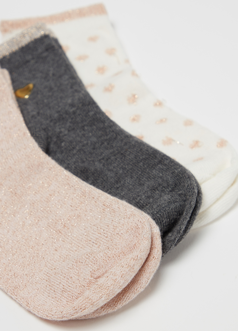 Three-pack short stretch socks with glitter image number null