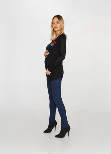 MUM floral patch pullover in viscose