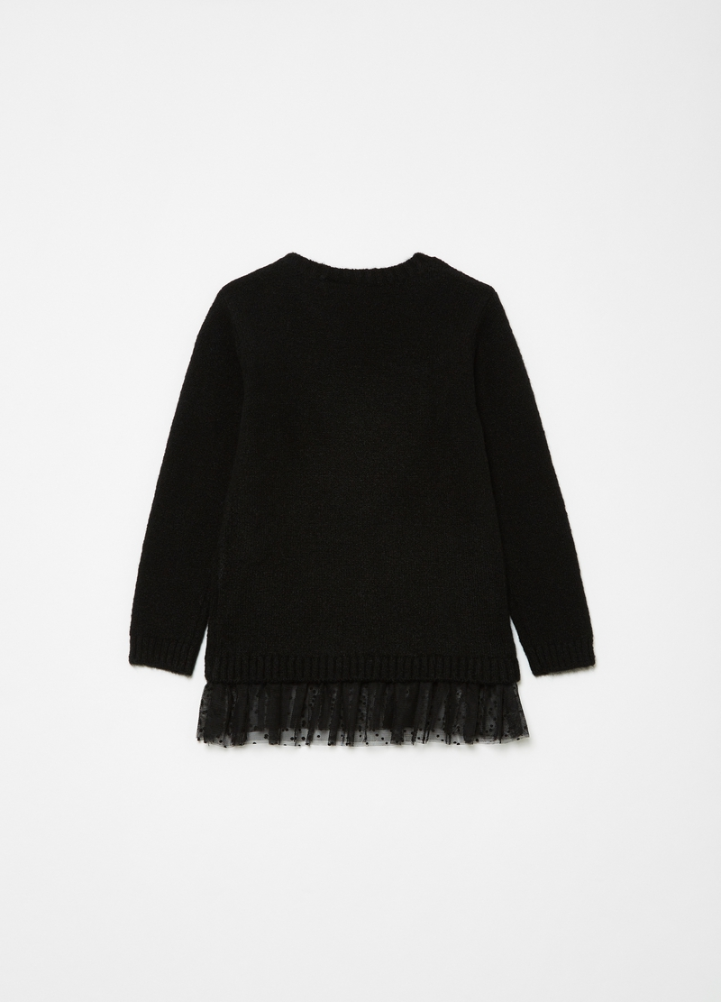 Pullover with buttons and tulle insert image number null