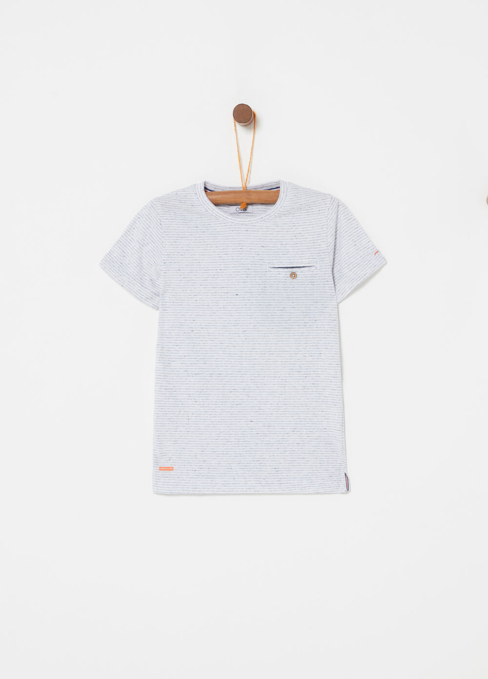 T-shirt with pocket and striped button