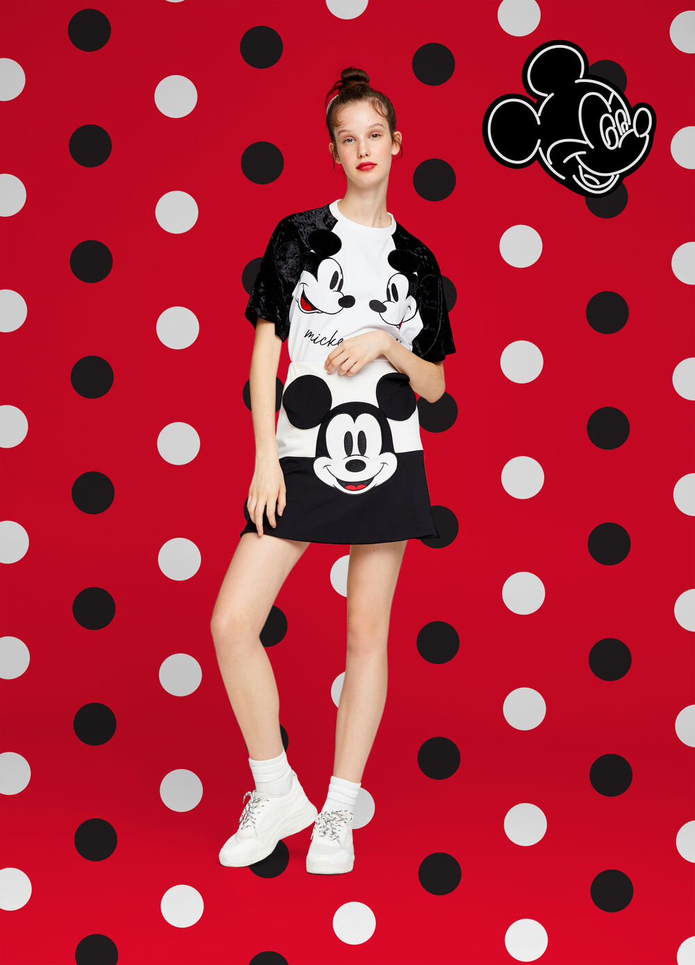 Gonna stretch bicolore Mickey Mouse