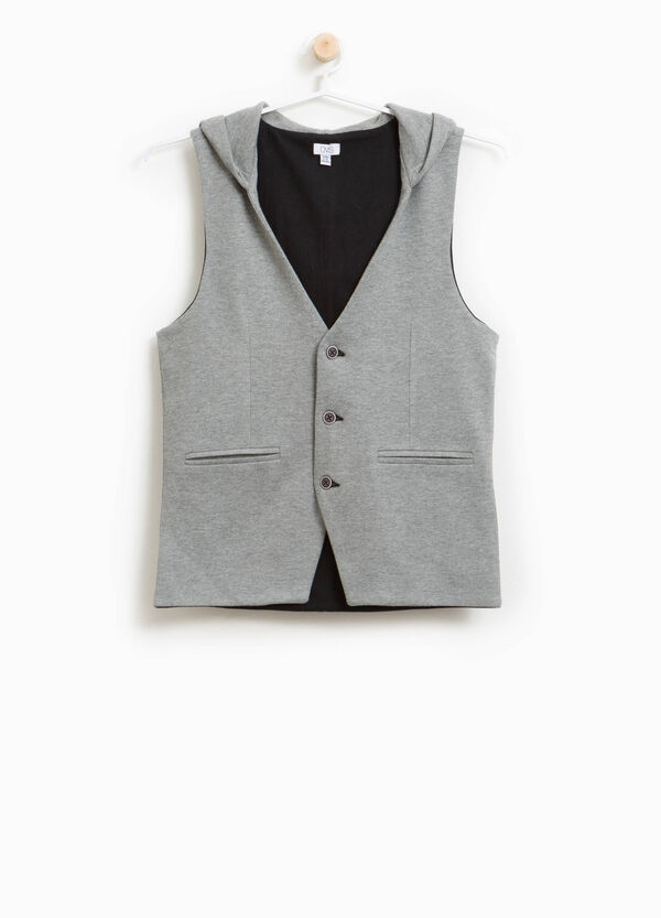 Cotton blend hooded waistcoat