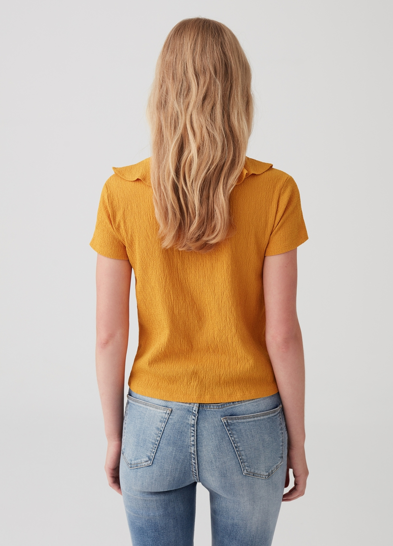 Stretch T-shirt with V neck and flounce image number null