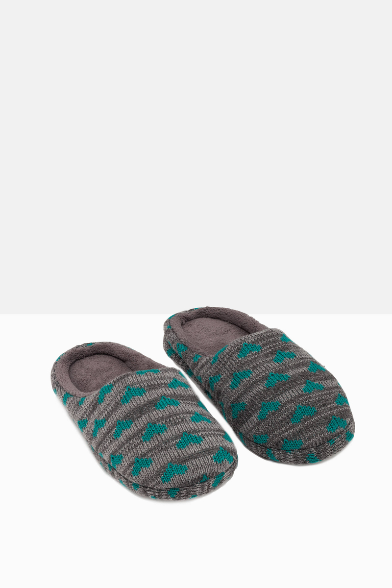 Knitted and striped slippers with print image number null