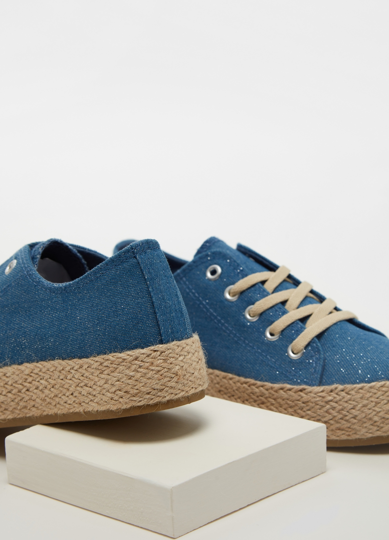 Denim-effect sneakers with cord sole image number null