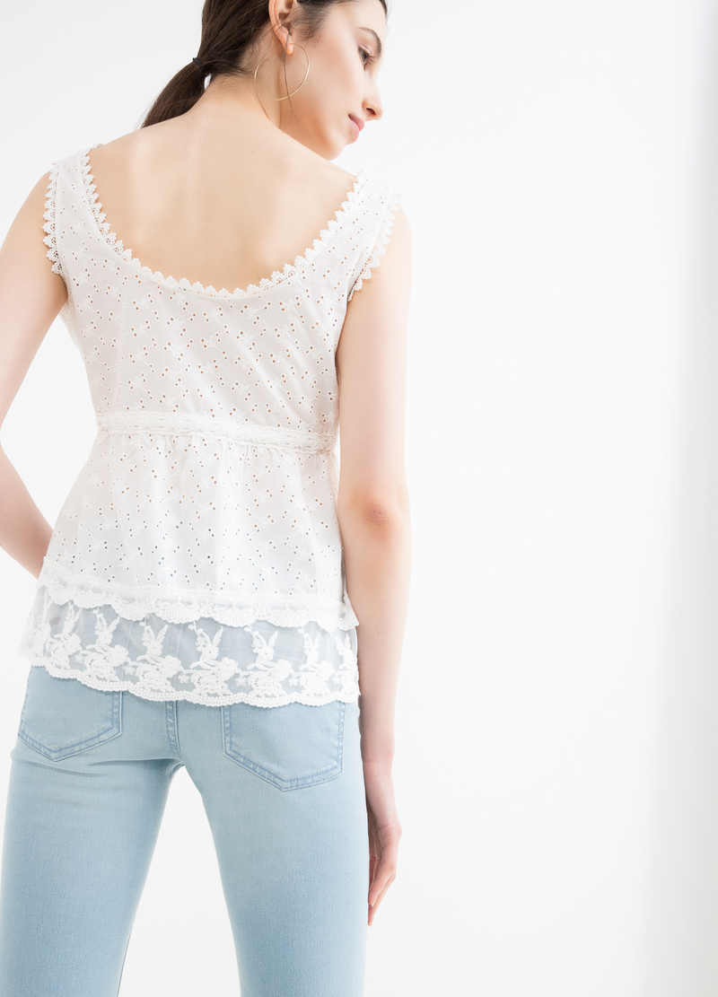 Openwork top in 100% cotton image number null