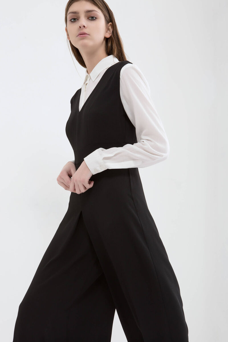 Stretch playsuit with gaucho pants
