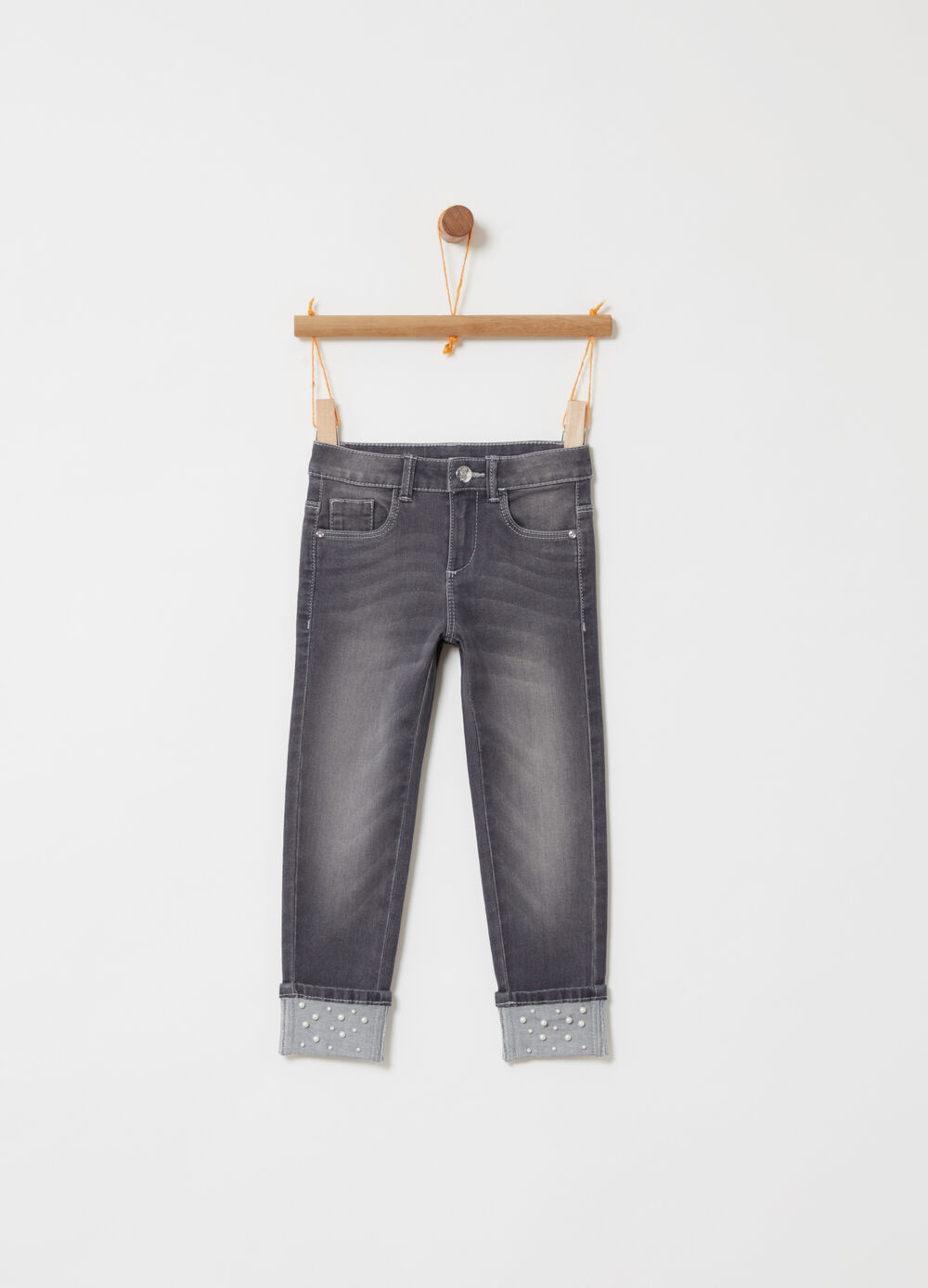 Skinny-fit jeans with jewel rivets and beads