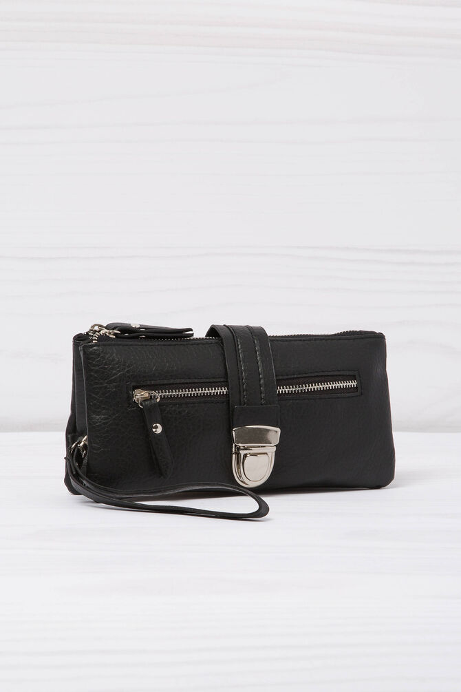 Leather look wallet with two compartments