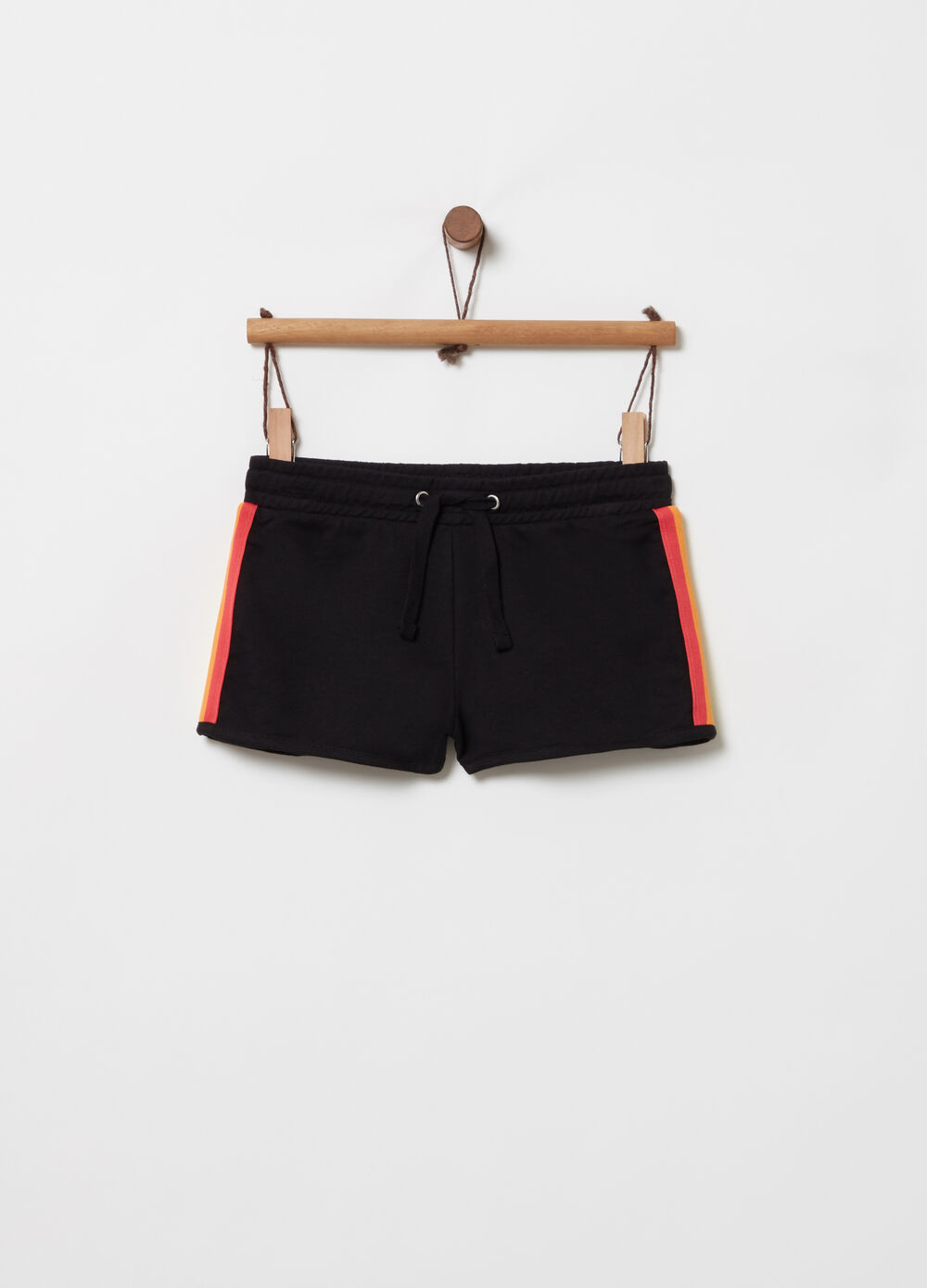French terry shorts with striped ribbon
