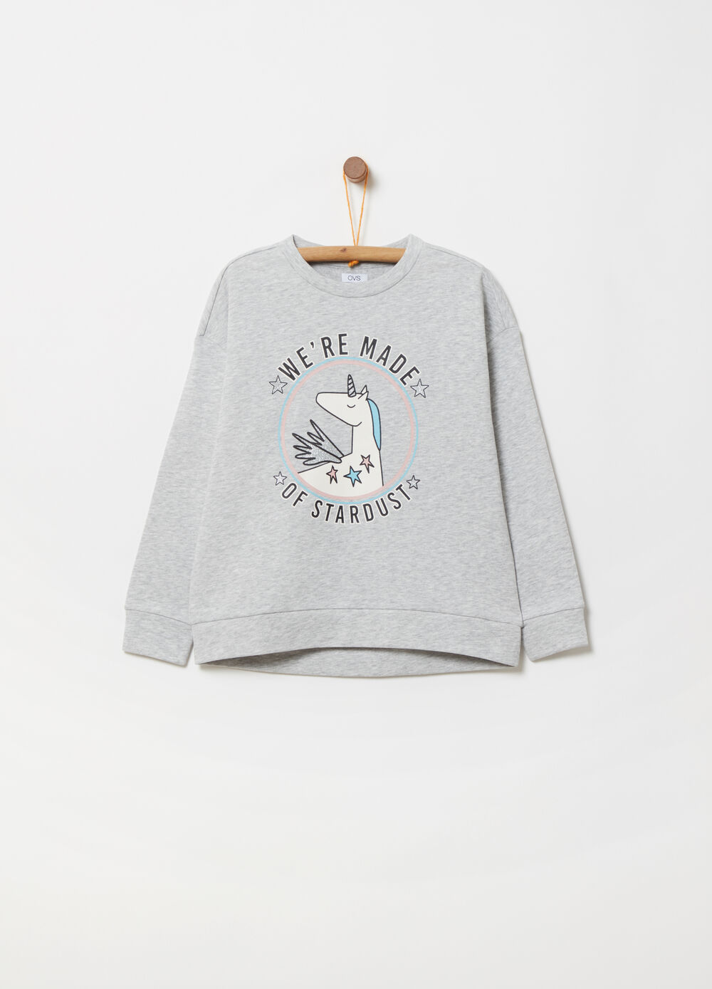 Crew neck sweatshirt with print on the front