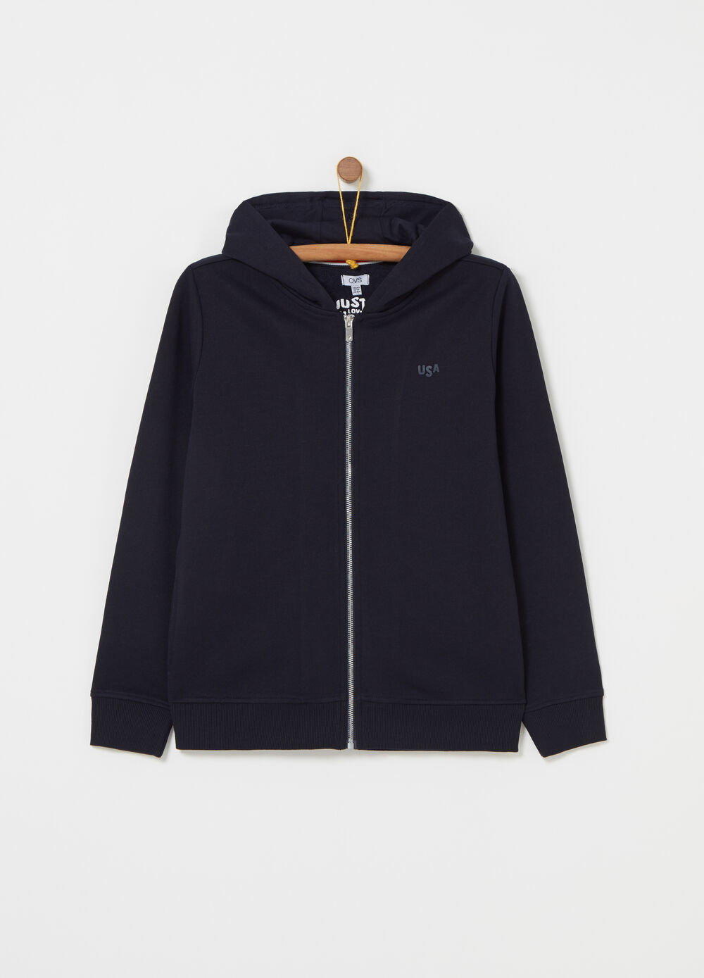 Sweatshirt with hood, ribbing and print