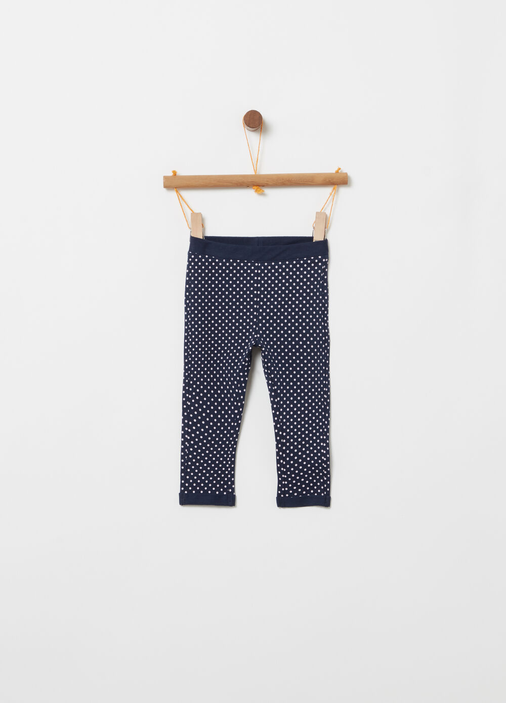 Pantaloni in felpa stretch fantasia a pois