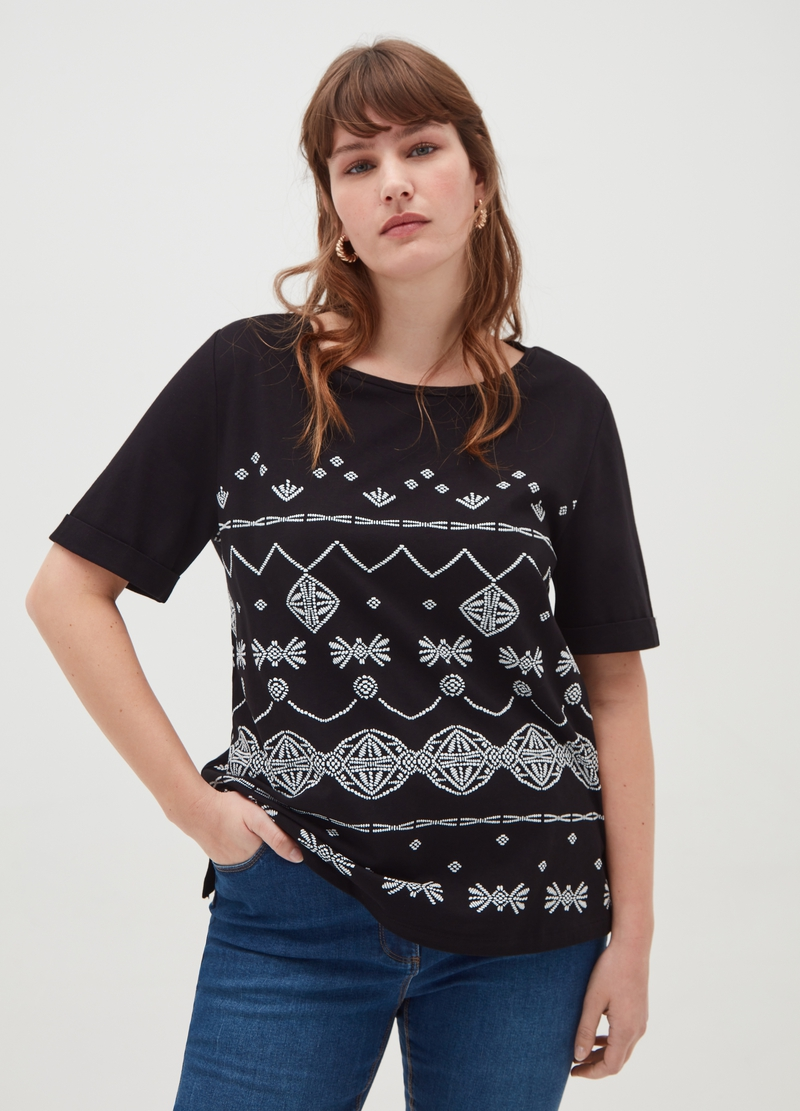 Curvy 100% cotton T-shirt with ethnic print image number null
