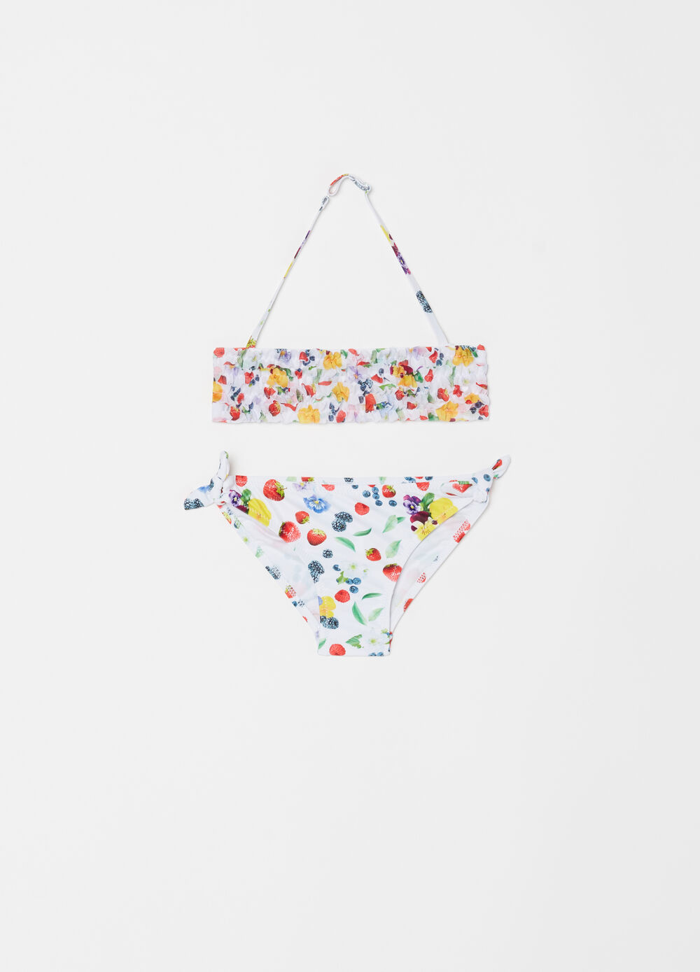 Bikini top and briefs with fruit motif pattern