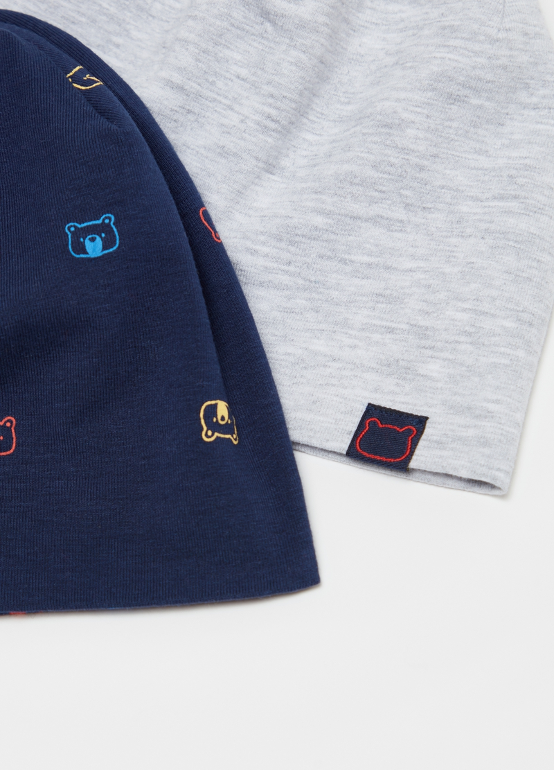 Two-pack jersey hats with teddy bears image number null