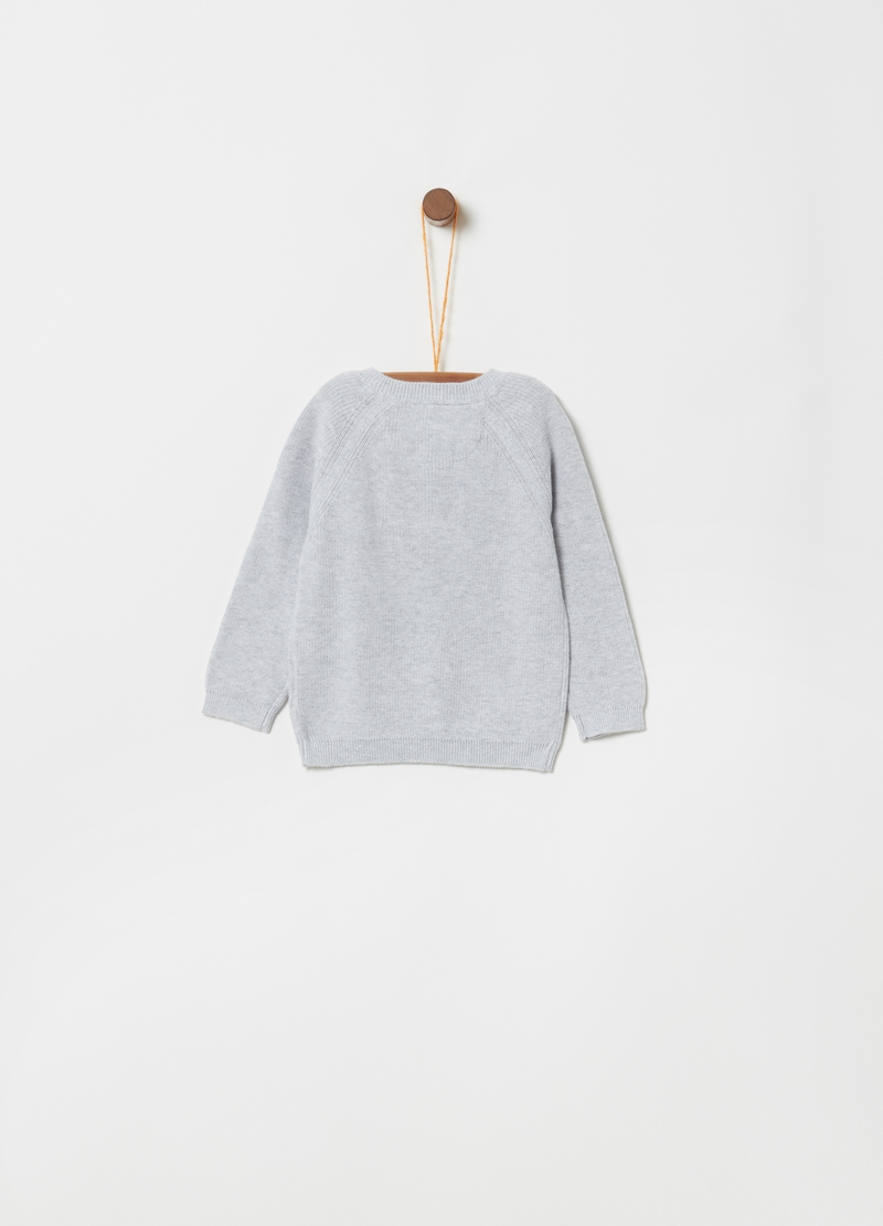 Knitted top in 100% cotton with granddad collar image number null