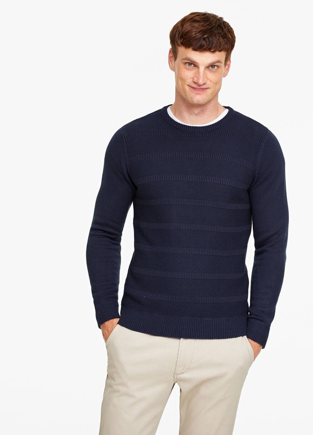 Cotton blend knitted pullover with striped pattern