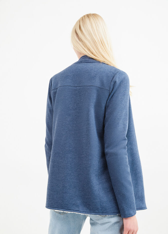 Cotton fleece cardigan with fur