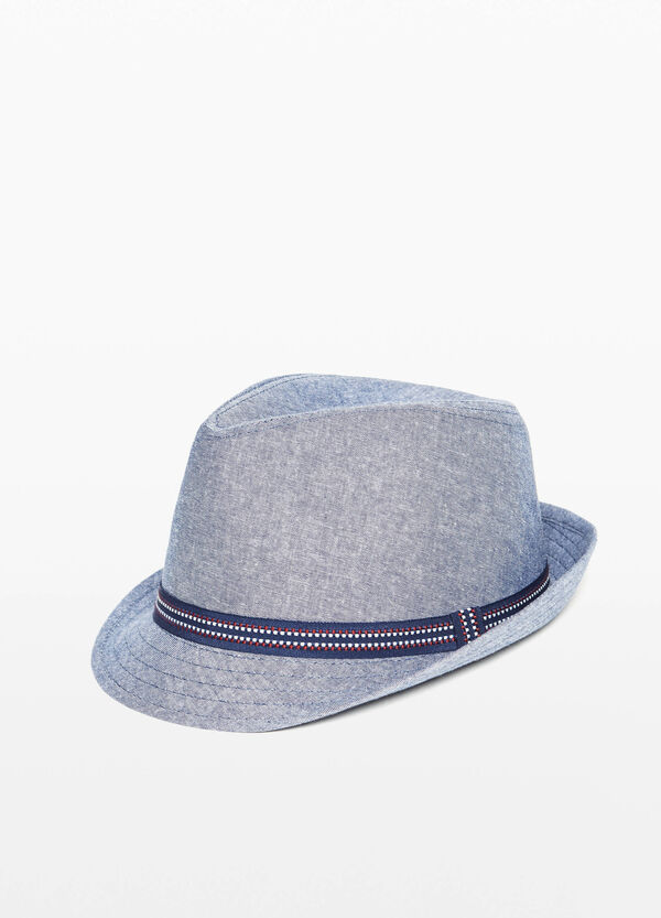 Wide brim hat with embroidered strap