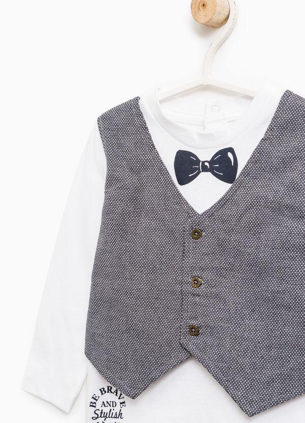 Cotton T-shirt with faux layered waistcoat   OVS