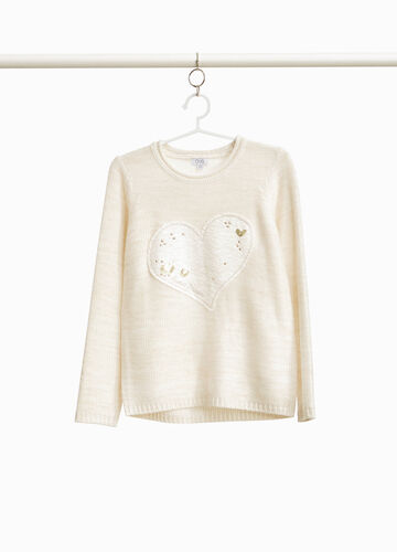 Pullover with lurex and heart patch