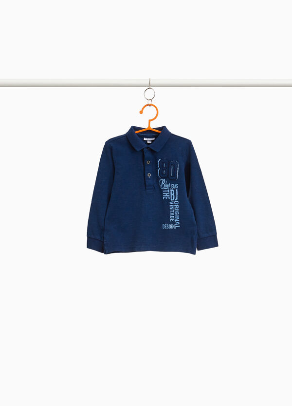 Polo shirt in 100% cotton with print and patches