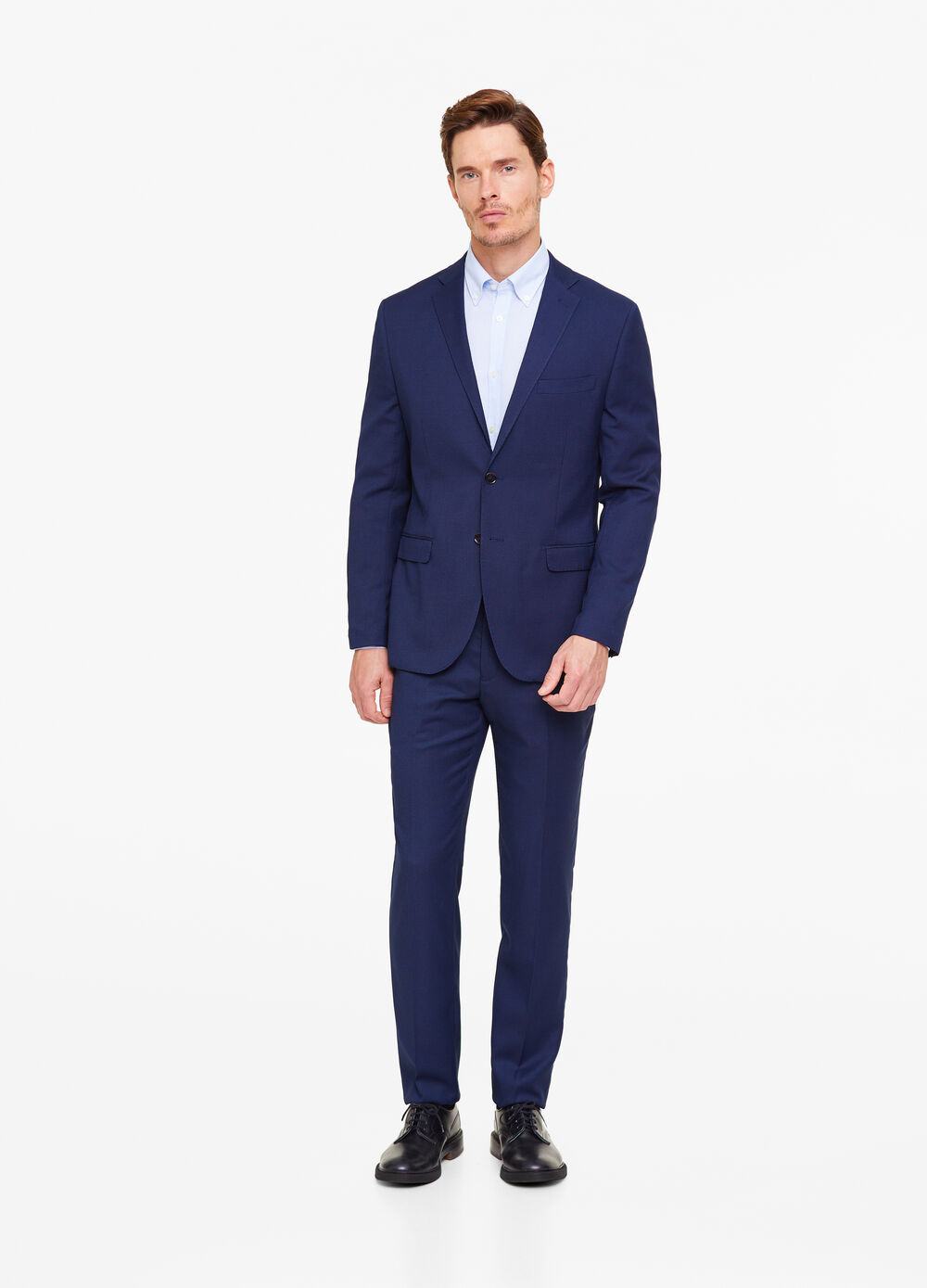 Regular-fit textured suit