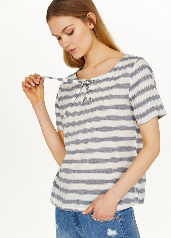 Striped cotton and linen T-shirt with laces