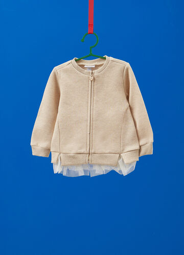 Sweatshirt with lurex and tulle insert