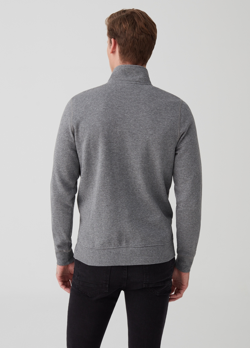 Mélange sweatshirt with pockets and zip image number null