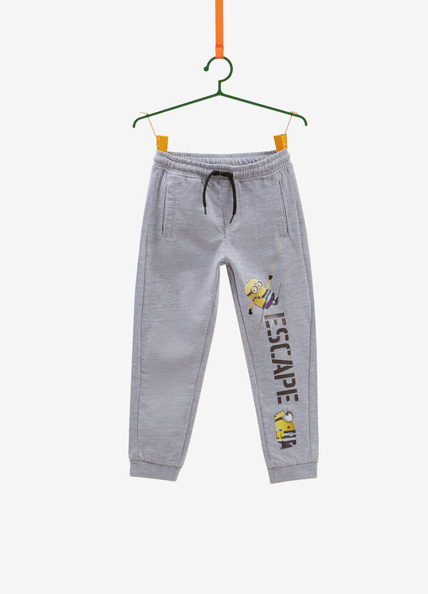 Cotton blend trousers with Minions print