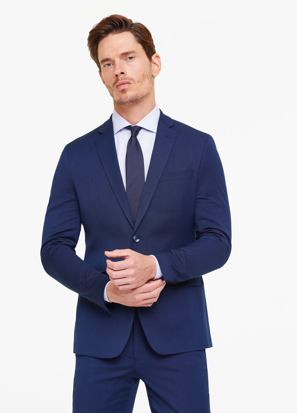 Slim-fit suit with speckled weave