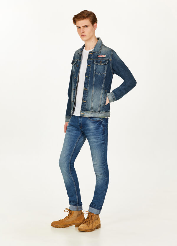 Denim jacket with print and patches