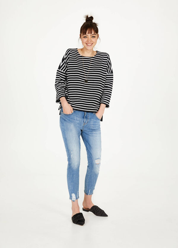 Striped cotton blend sweatshirt