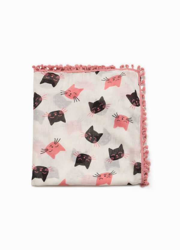 Kitten patterned viscose pashmina | OVS