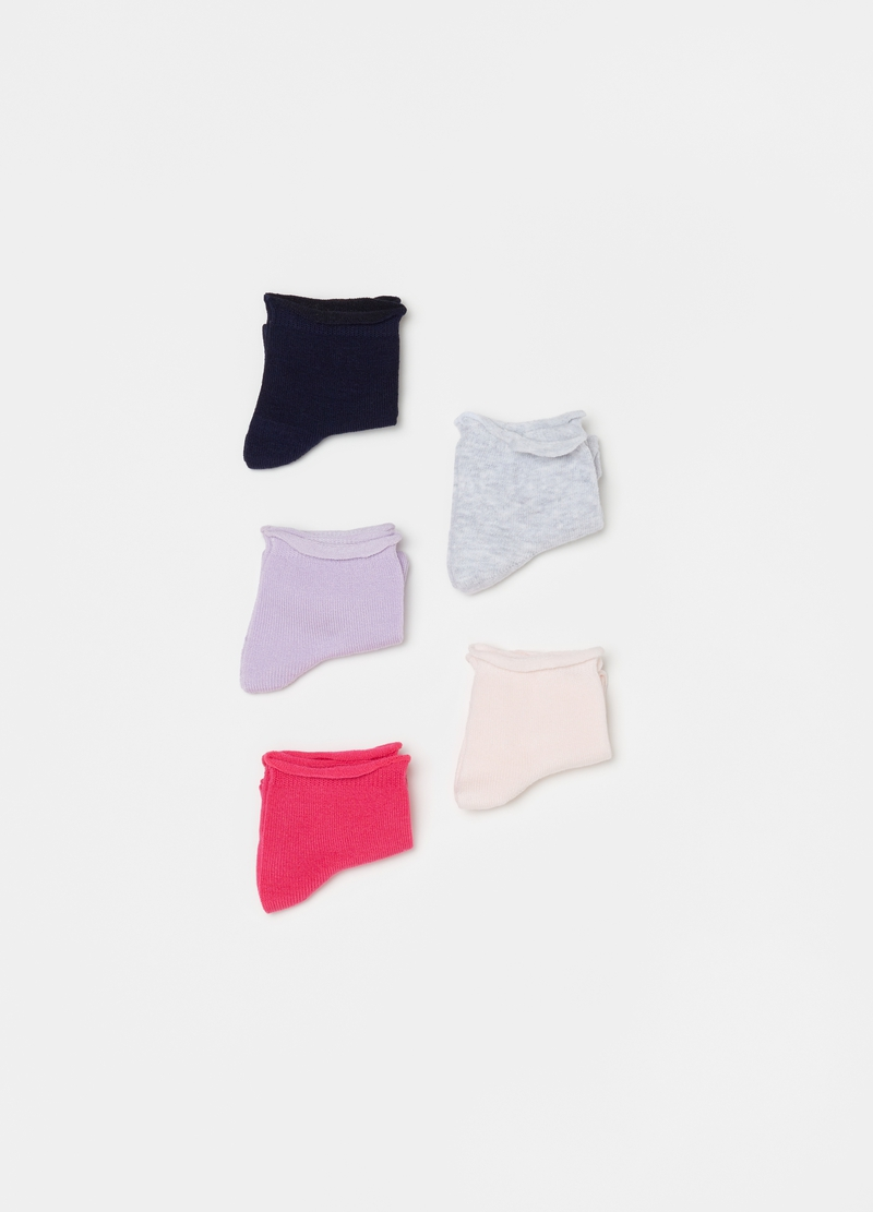 Five-pair pack short socks with raw edging image number null