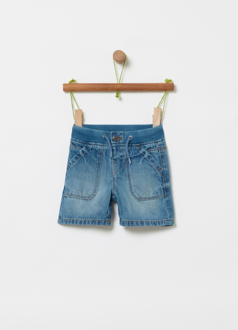 Denim shorts with drawstring image number null