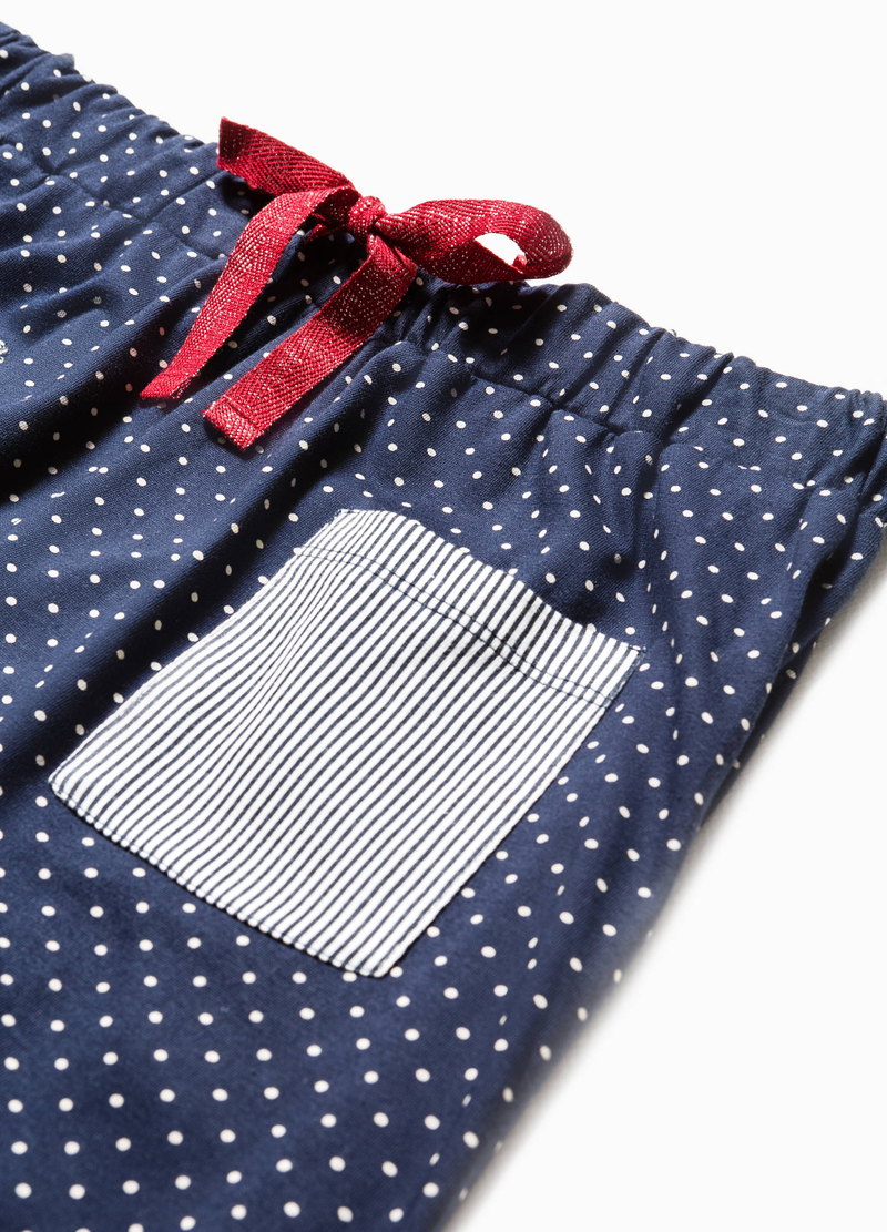 Striped and polka dot pyjama trousers image number null