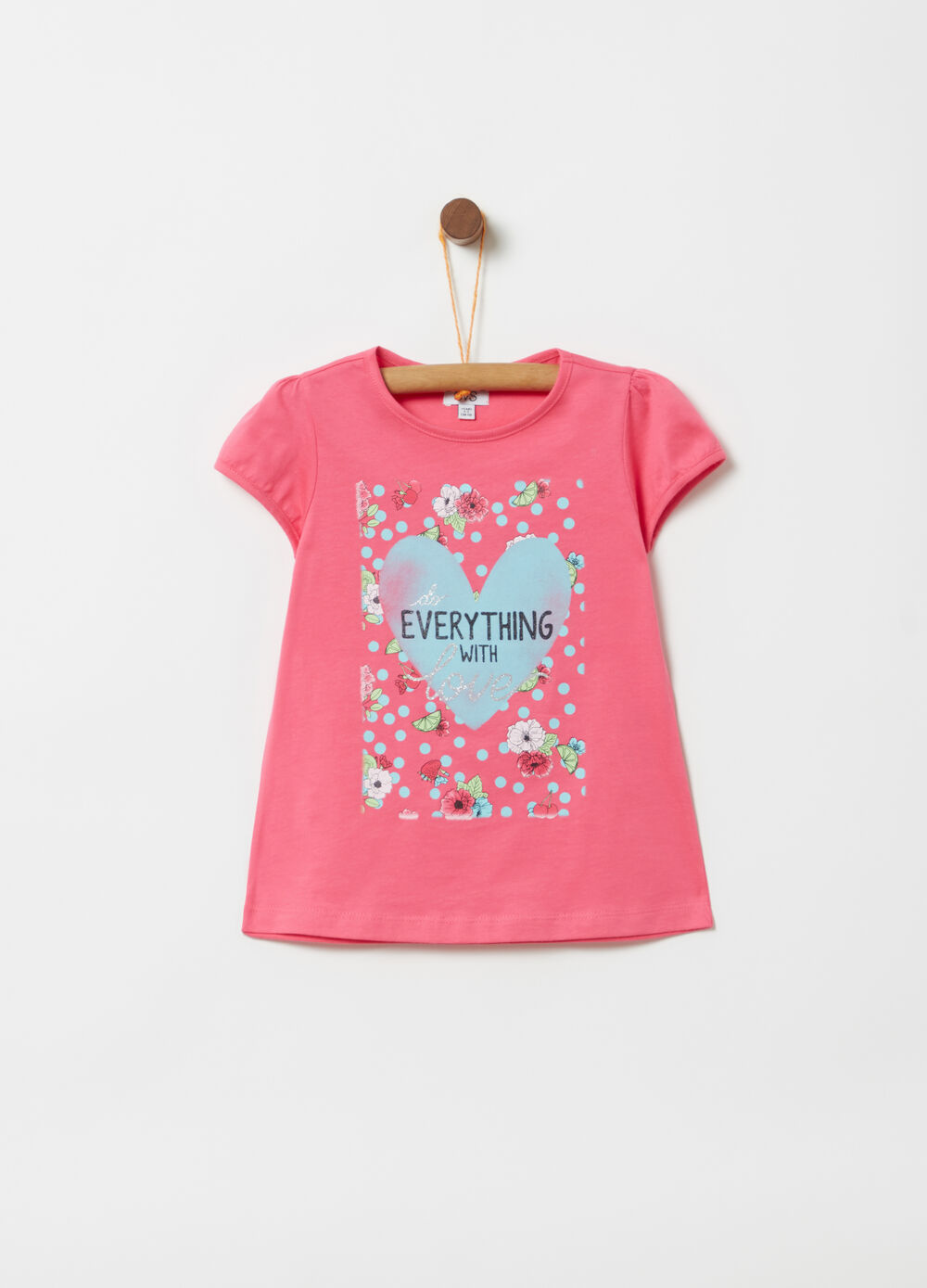 T-shirt with puff sleeves and print