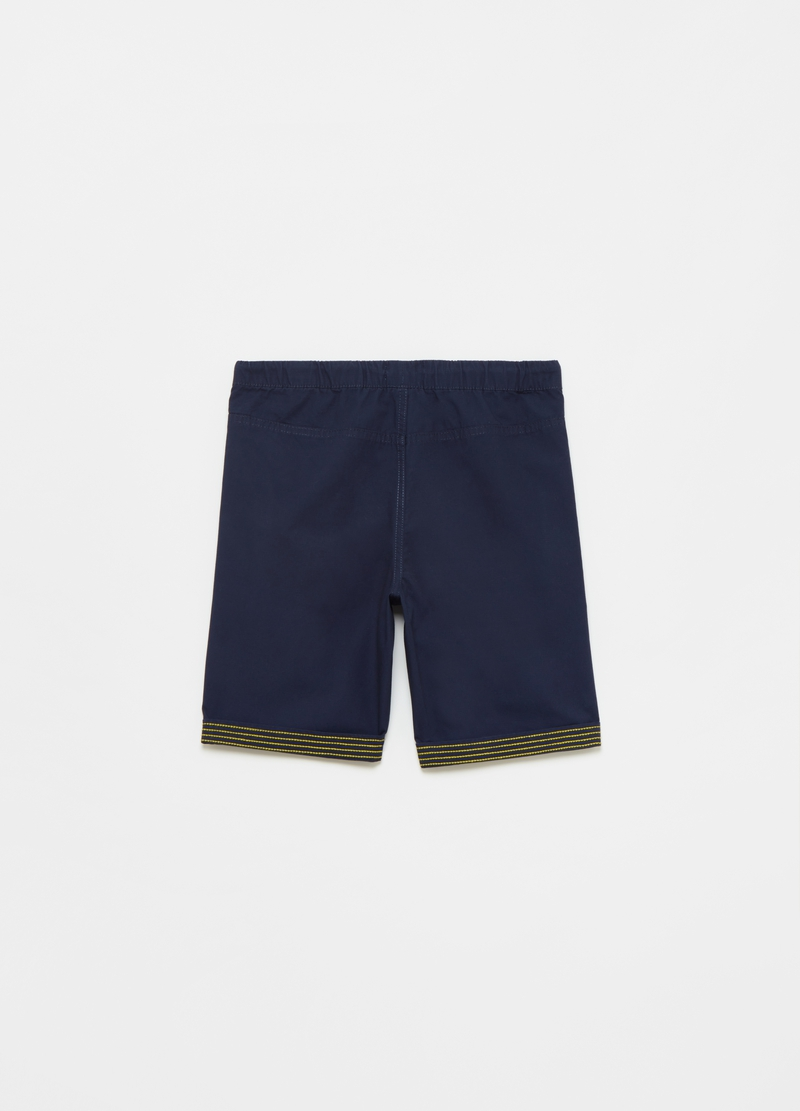 Cotton Bermuda shorts with striped details image number null