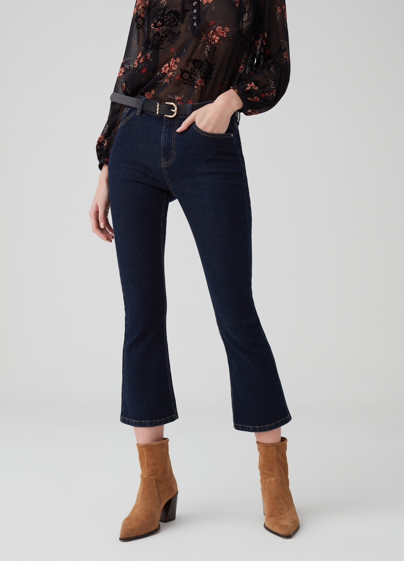 Flared crop denim trousers image number null