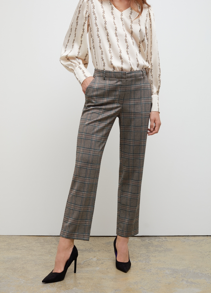 Viscose blend trousers with check pattern image number null