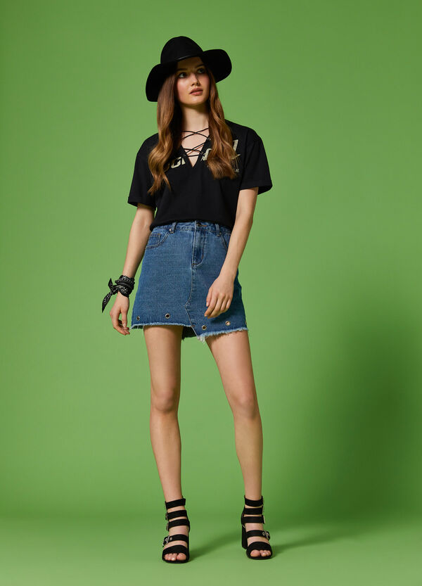 K+K for OVS denim skirt with eyelets