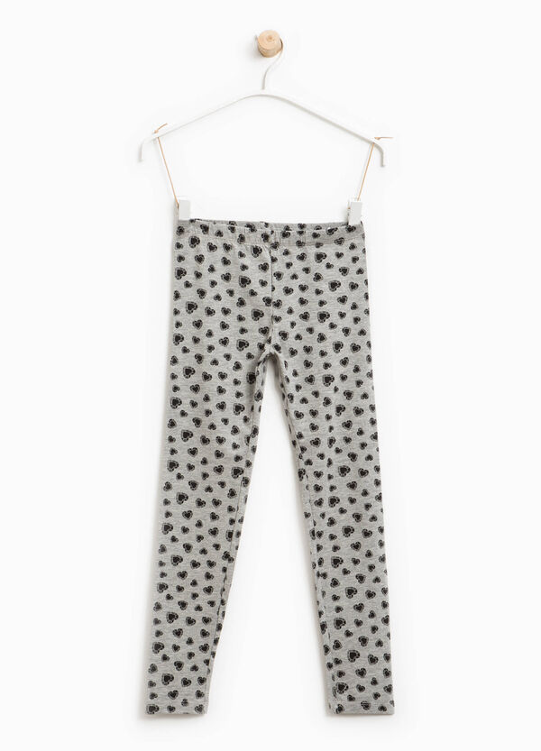 Heart print cotton leggings | OVS