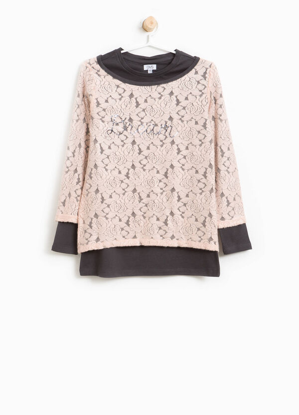 T-shirt in pizzo con paillettes | OVS