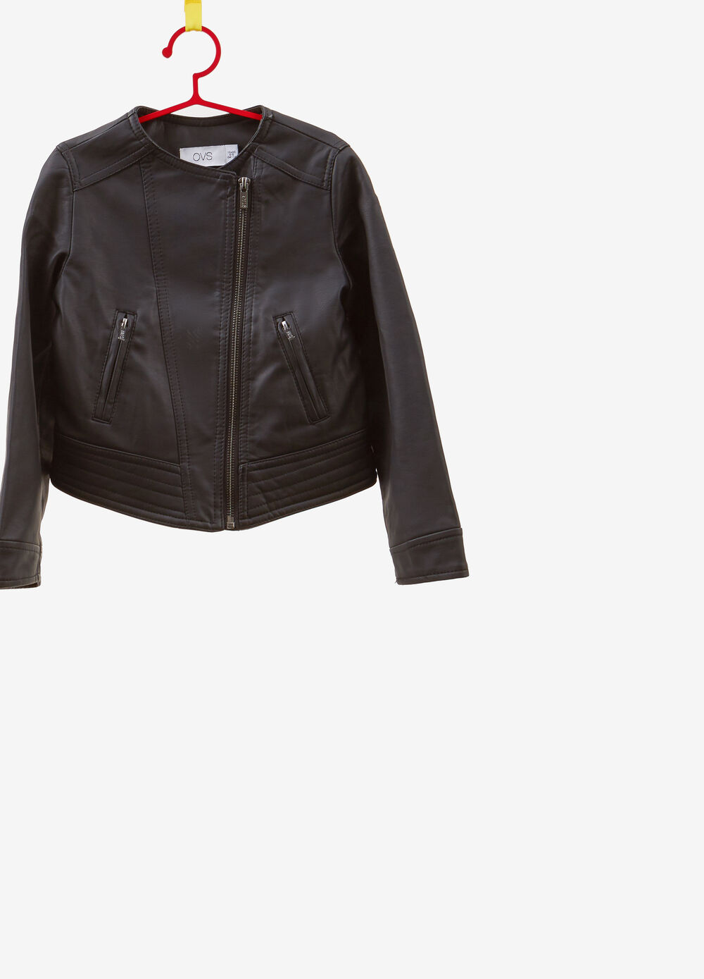 Faux fur jacket with round neck and zip