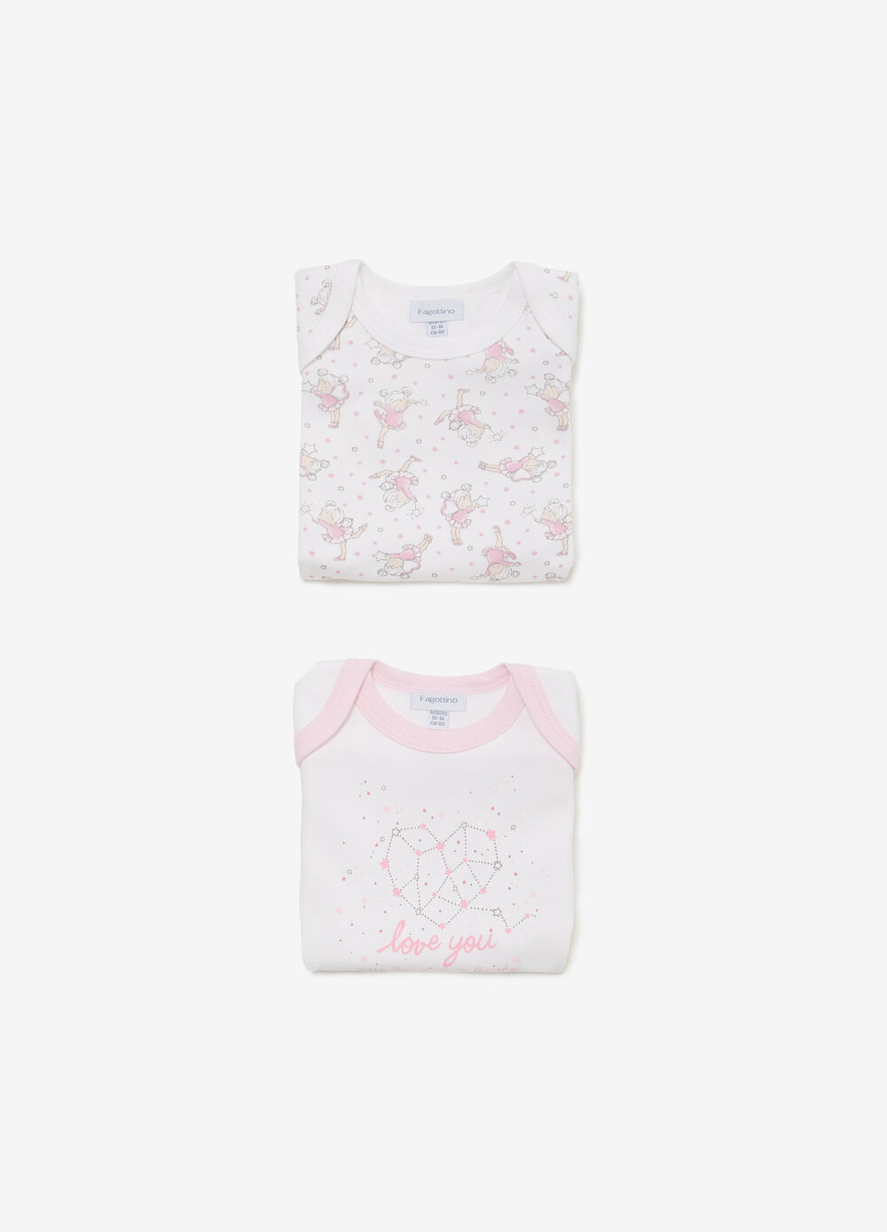 Set of two bodysuits with ballerinas and hearts