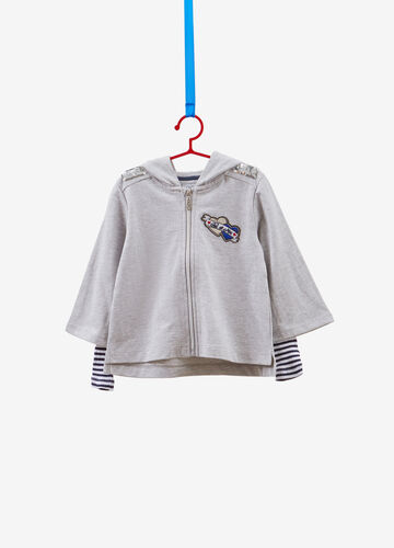 Sweatshirt in 100% cotton with patch and sequins
